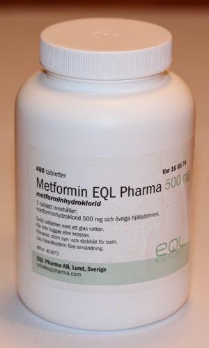 Ett exempel på tabletter med metformin som finns att köpa på vanliga svenska apotek.